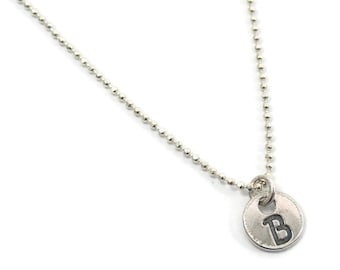 Dainty initial necklace. Sterling silver initial necklace. Very small initial necklace. Initial jewelry. Letter necklace. Letter pendant.