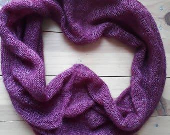 Warm dark red mohair snood / scarf