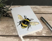 Small Bumble Bee Notebook - A6 Size Hardcover Lined Features original artwork by British artist Sarah Boddy Fab Christmas Gift