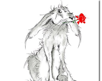 Hare Valentine's Card - Love Card, Anniversary Card, Valentine Card, Pencil drawing