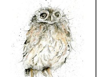 Owl Greeting Card -  Blank Inside, Owl Birthday Card, Woodland Theme