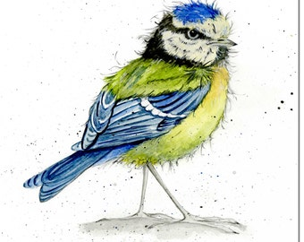 Bird Greeting Card - Blue Tit - Garden Bird Card, Blank Inside
