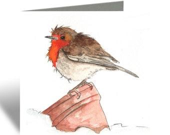 Robin Red Breast Greetings Card, Horse Card, Birthday Card