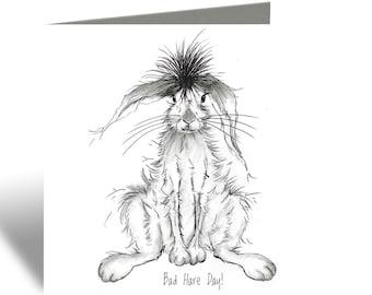 Hare Card - Bad Hare Day! Greeting Card - Animal Card, Blank Inside, Woodland Theme
