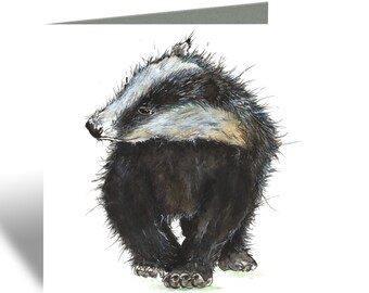 Badger Greeting Card - Animal Birthday Card, Blank Inside, Woodland, Watercolour