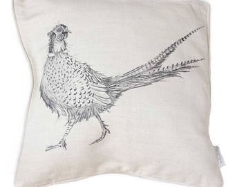 Pheasant Cushion Cover - Linen, Country Kitchen Gift, Made in England, Housewarming Gift, Birthday Gift