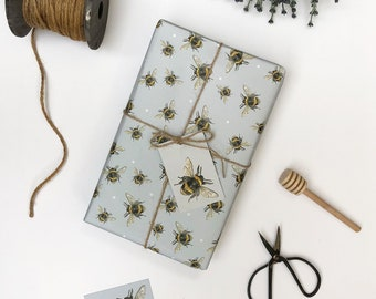 Bee Wrapping Paper - Bee Gift Wrap - Bee Gift, Blue - Birthday Wrapping Paper