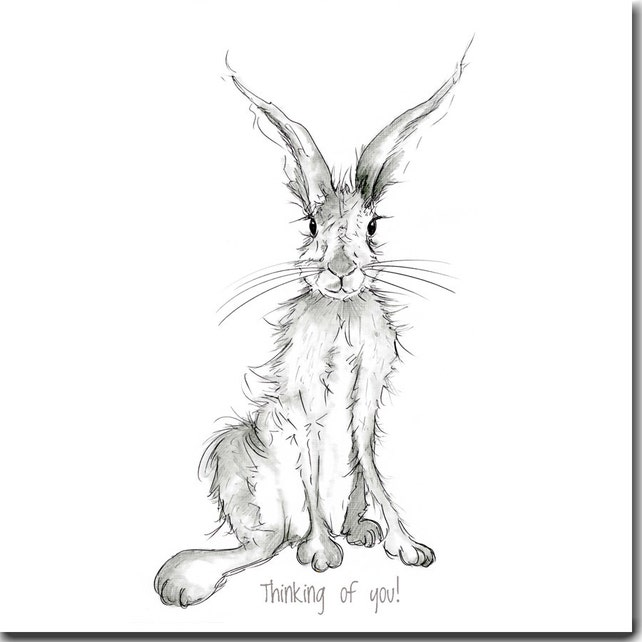 Thinking Of You! Hare Greeting Card - Pencil and Ink Hare, Blank Inside, Hare Card, Animal Card