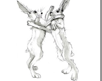 Boxing Hares Greeting Card - Hare Birthday Card, Blank Inside
