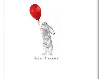 Bunny Card, Happy Birthday, Balloon,  Blank Inside, Animal Card