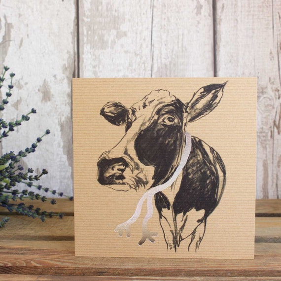 Clover Cow Greeting Card Funny Cow Card Birthday Card Blank Etsy