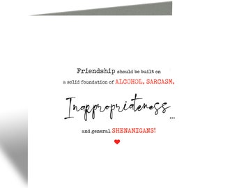 Friendship shenanigans greeting card