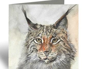 Lynx Card - Wild Cat Greeting Card - Birthday Card