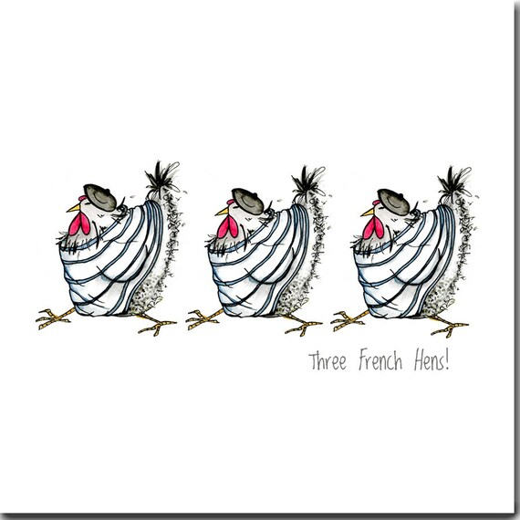 Chicken Card Three French Hens Greeting Card Funny Chicken Etsy