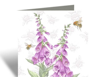 Botanical card- Foxglove and Honey Bee Greeting Card, Embossed card