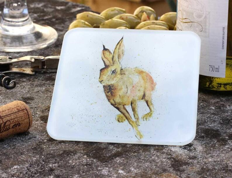 Woodland Animal Gift Hare Coaster Glass Coaster Animal Coaster Drinks Mat