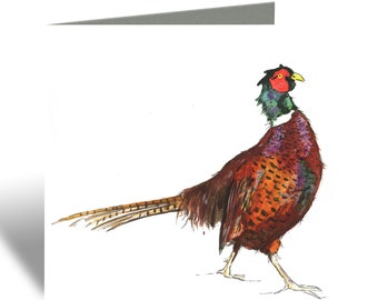 Strutting Pheasant Greeting Card -  Blank Inside, Watercolour, Bird and Animal Cards