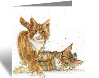 Cat Card - Two ginger cats Greeting Card - Birthday Card for cat lovers