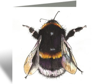 Bee Greeting Card - Blank Inside, Personalization Available