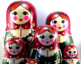 Nesting Dolls 12 pcs Russian matryoshka babushka. Stacking wooden toy for kids made in Russia. Christmas or Birthday gift for granddaughter