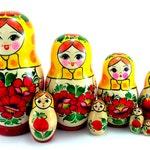 Matryoshka 8 pcs Russian Nesting Dolls Authentic babushka Stacking wooden toy Wedding or Birthday gift for mom grandma grandmother daughter
