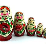 Matryoshka 6 pcs Russian Nesting Dolls Babushka. Stacking wooden toy made in Russia. Christmas or Birthday gift for daughter granddaughter