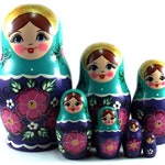 Nesting Dolls 7 pcs Russian Matryoshka babushka. Stacking wooden toy for kids made in Russia. Birthday or Christmas gift for her daughter