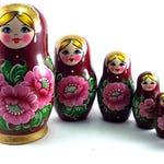 Russian nesting dolls 7 pcs Matryoshka authentic babushka Stacking wooden toy wedding or birthday gift for mom grandma grandmother daughter