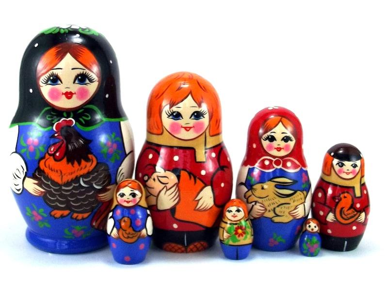 Animal Nesting Dolls for kids 7 pcs Russian Matryoshka image 0