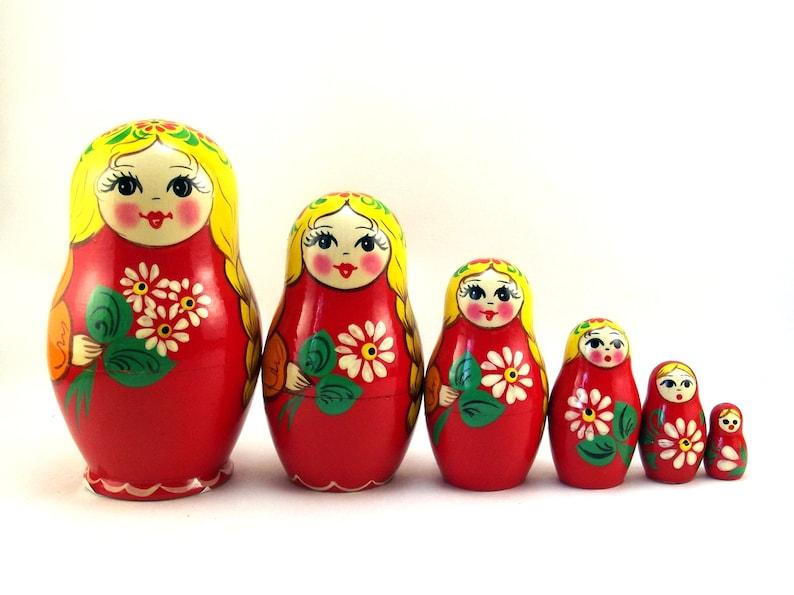 Nesting Dolls for kids 6 pcs Russian Matryoshka babushka image 0