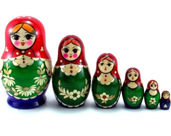 Russian Nesting Dolls for kids matryoshka babushka 6 pcs. Stacking wooden toy made in Russia. Christmas Birthday gift for daughter mom