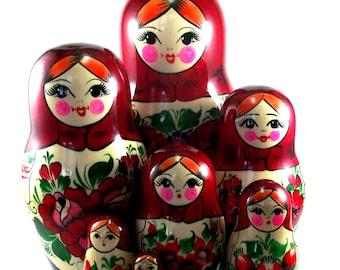 Nesting Dolls Russian matryoshka babushka 11 pcs. Stacking wooden toy for kids made in Russia Christmas Birthday gift daughter granddaughter