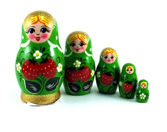 Nesting Dolls for kids 5 pcs Russian matryoshka babushka. Stacking wooden toy made in Russia. Christmas or Birthday gift for daughter her