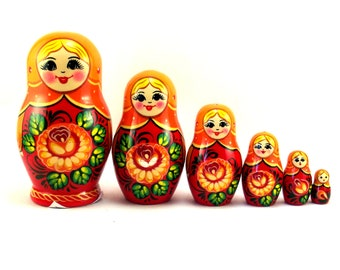 Nesting Dolls Russian matryoshka babushka 6 pcs. Stacking stackable wooden toy for kids made in Russia
