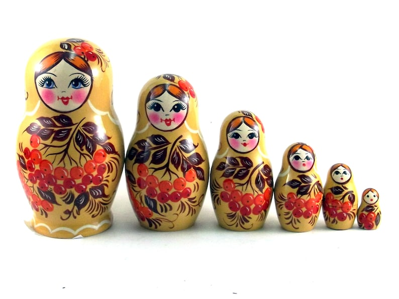 Nesting Dolls Russian Matryoshka Babushka Stacking wooden toy image 0