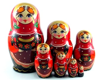 Russian nesting dolls 7 pcs Matryoshka Babushka. Stacking stackable wooden toy for kids made in Russia. Christmas birthday gift for daughter