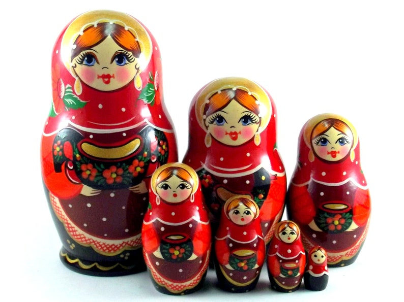 Russian nesting dolls 7 pcs Matryoshka Babushka. Stacking image 0