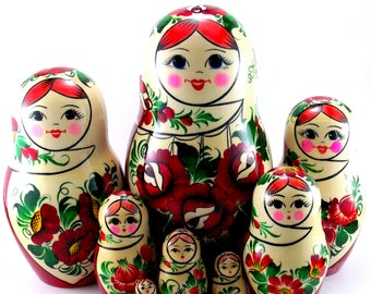 Nesting Dolls Russian Matryoshka Babushka Stacking wooden toy for kids made in Russia. Christmas or Birthday gift for granddaughter 9 pcs