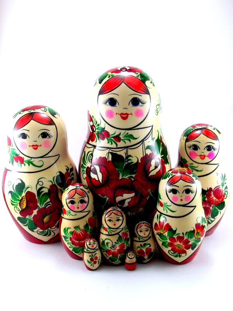 Nesting Dolls Russian Matryoshka Babushka Stacking wooden toy image 0