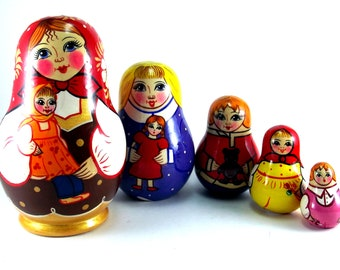 Russian Nesting Dolls for kids matryoshka babushka 5 pcs. Stacking wooden toy made in Russia. Christmas Birthday gift for her granddaughter