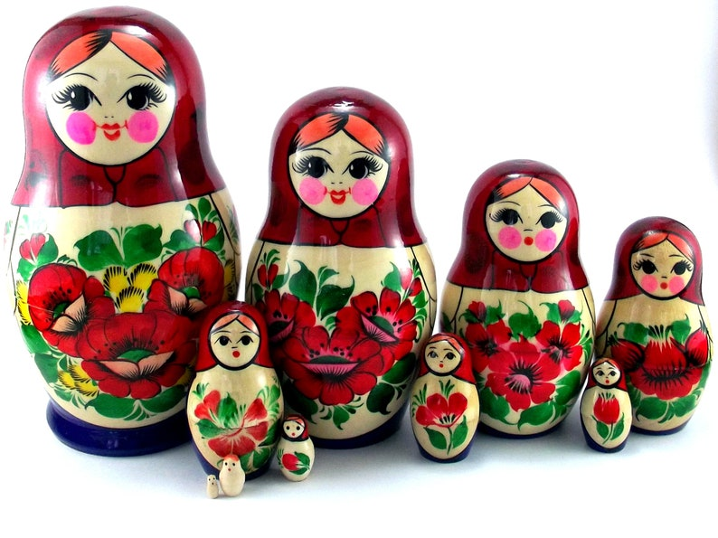 Nesting Dolls 10 pcs Russian Matryoshka Babushka. Stacking image 0