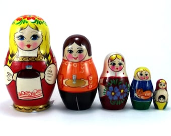 Nesting Dolls 5 pcs Russian matryoshka babushka. Stacking wooden toy for kids made in Russia. Christmas or Birthday gift for daughter her
