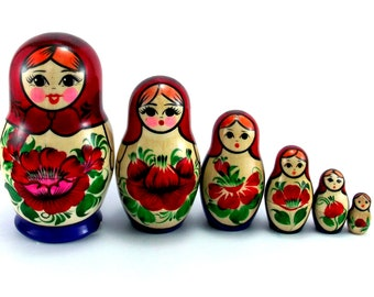 Matryoshka 6 pcs Russian Nesting Dolls Babushka. Stacking wooden toy. Made in Russia. Christmas or Birthday gift for kids granddaughter