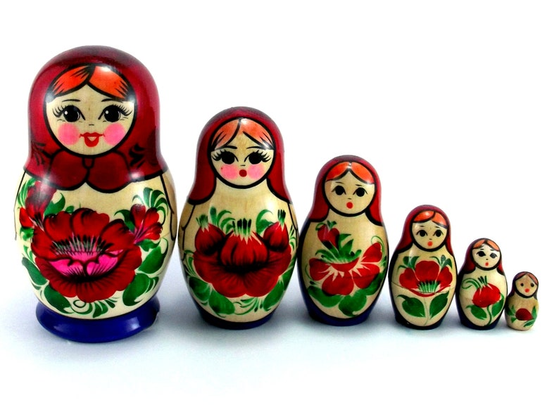 Matryoshka 6 pcs Russian Nesting Dolls Babushka. Stacking image 0