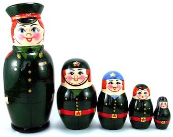 Military Nesting Dolls Russian Matryoshka Babushka 5 pcs. Stacking wooden toy for kids made in Russia. Christmas Birthday gift for grandpa