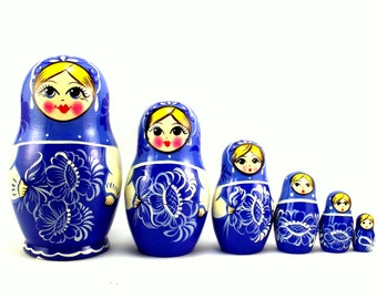 Nesting Dolls 6 pcs Russian matryoshka babushka Gzhel style. Stacking stackable wooden toy for kids made in Russia
