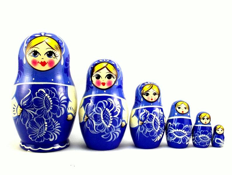 Nesting Dolls 6 pcs Russian matryoshka babushka Gzhel style. image 0