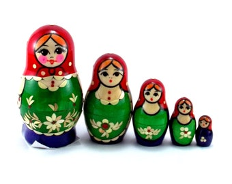 Matryoshka 5 pcs Russian Nesting Dolls Babushka. Stacking wooden toy for kids made in Russia. Christmas or Birthday gift for granddaughter