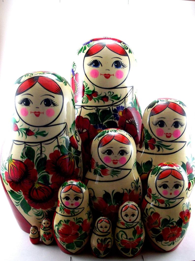 Matryoshka 10 pcs Russian nesting dolls babushka. Stacking image 0