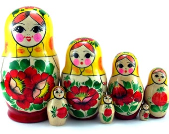 Nesting Dolls 7 pcs Russian matryoshka. Authentic Babushka Stacking wooden toy for kids made in Russia. Christmas Birthday gift for daughter